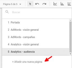 Añadir una nueva página en Google Data Studio