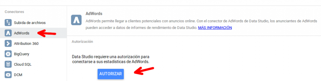 Importar fuente de datos AdWords en Google Data Studio