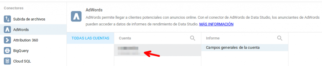 Permitir conexión AdWords con Google Data Studio