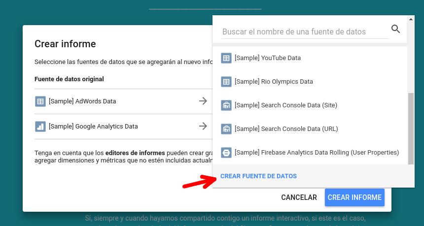 Importar fuente de datos Google Data Studio