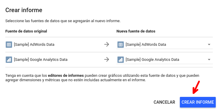 Fuente de datos Analytics y AdWords en Google Data Studio