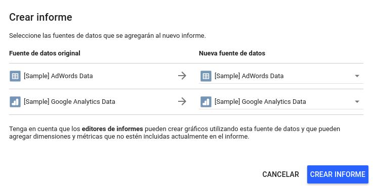 Crear Informe en Google Data Studio