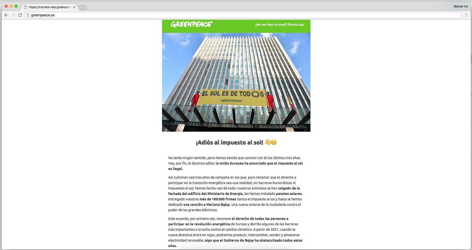 Adiós al Impuesto Sol - Newsletter GreenPeace
